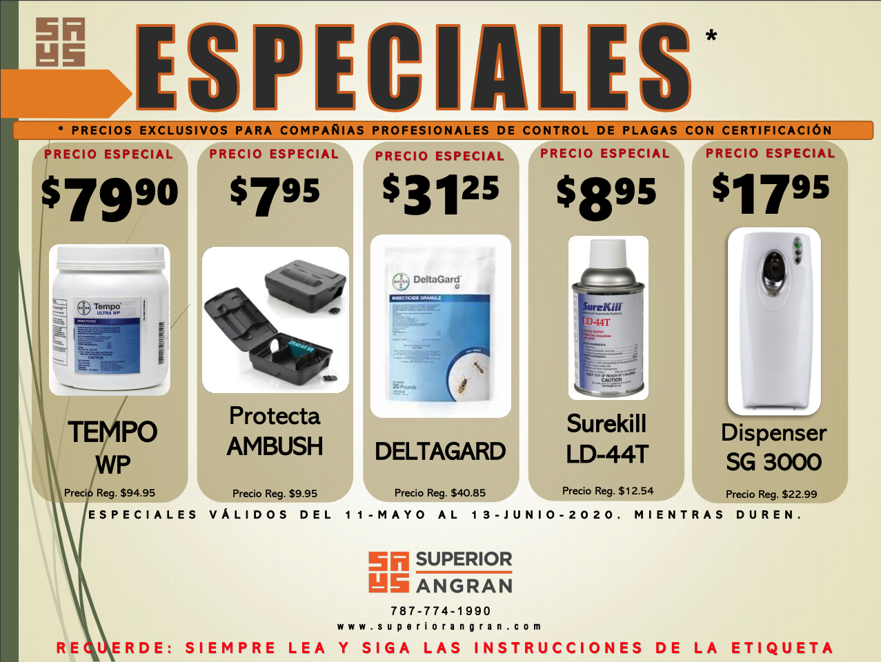Especiales Superior Angran - hasta 13 de junio de 2020